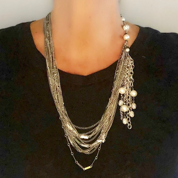 Jewelry - Unique custom multi chains and pearl necklace